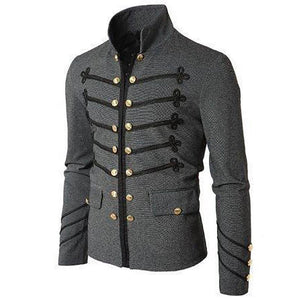 Fashion Mens Solid Color Embroidered Pocket Jacket