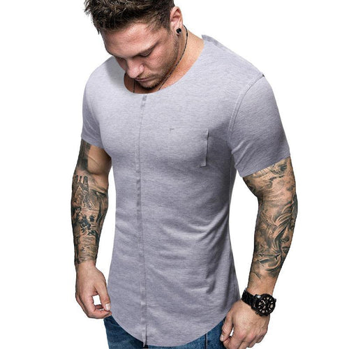 Solid Color Stitching Short-Sleeved T-Shirt