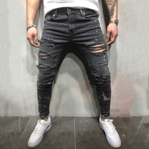 Men's Washed And Worn   Tight-Fitting Pleated Jeans