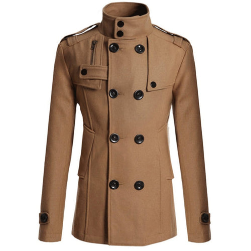Fashion Hot Sale Wide Lapel Slim Plain Woolen Coat