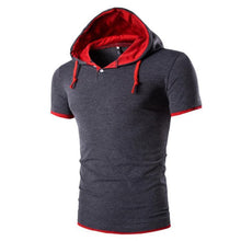 Load image into Gallery viewer, Fashion Hooded Half-Open Casual Short-Sleeved T-Shirt
