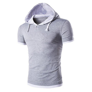 Fashion Hooded Half-Open Casual Short-Sleeved T-Shirt