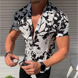 Casual Leaf Printed Short Sleeve Shirt