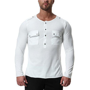 2018 Men's Button White Round Neck Pullover Long Sleeve