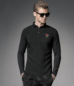 Rose Embroidered Men's Long Sleeve T-Shirt