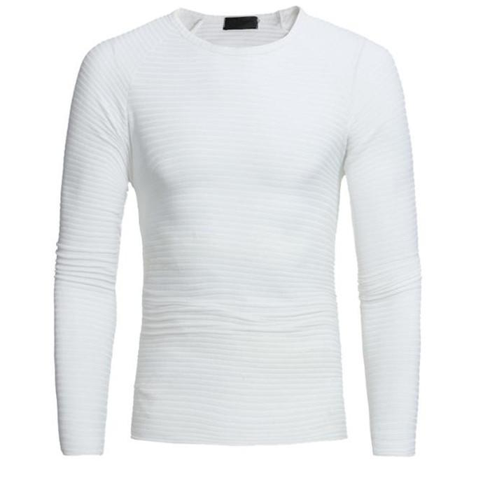 8964ef39a92 Load image into Gallery viewer, Fashion Youth Casual Slim Plain Round Neck Long  Sleeve Top ...