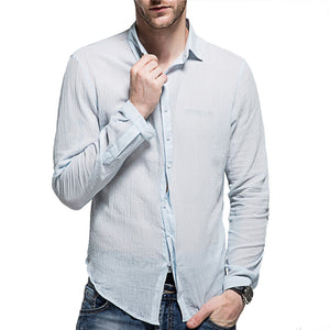 Men's Washed Cotton Long-Sleeved Shirt 7 Colors