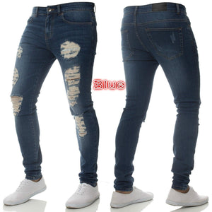 Men's Slim Fit Stretch Destroyed Ripped Denim Jean