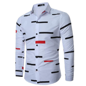Men Color Block Stripe Lapel Casual Shirts
