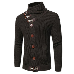 Mens High Collar Button Close Sweater
