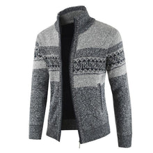 Load image into Gallery viewer, Mens Fashion Lapel Collar Printed Thicken Sweater Coat