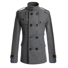 Load image into Gallery viewer, Fashion Woolen Plain Button Slim Long Coat