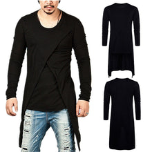 Load image into Gallery viewer, Fashion Round Collar Plain Slim Hip-Hop Long Shirt