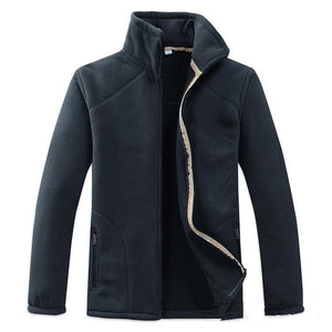 Fashion Lapel Collar Plain Zipper Thicken Old Man Coat