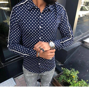 Fashion Lapel Collar Dot Stripe Long Sleeve  Shirt