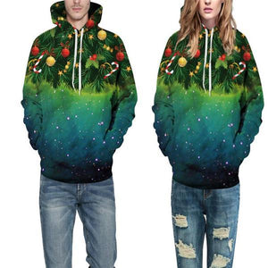Stylish Casual Youth Loose Christmas Tree Print Long Sleeve Men Hoodie