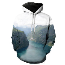 Load image into Gallery viewer, Fashion Loose Mountain And River Floral Printed Hoodie With Hat