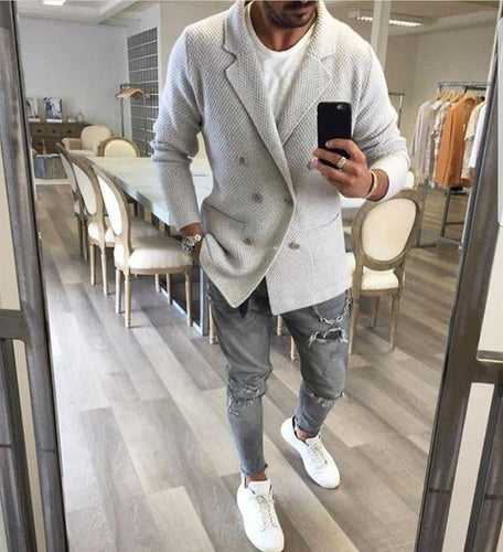 Business Formal Fashion Slim Solid Color Lapel Long Sleeve Men Suit Outerwear