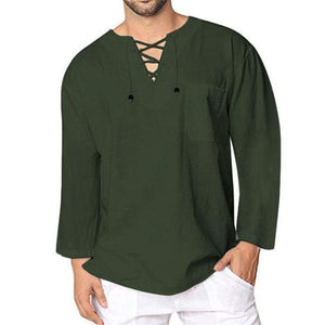 Casual Fashion Loose Solid Color Lace-Up Collar Long Sleeve Top
