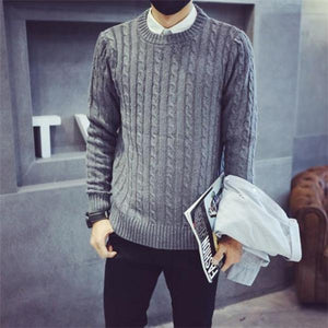 Fashion Casual Loose Solid Color Long Sleeve Men Sweater