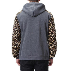 Casual Fashion Loose Leopard Print Long Sleeve Men Sport Hoodie