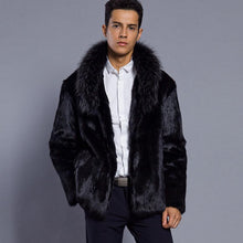 Load image into Gallery viewer, Mature Men Cool Faux Fur Blcck Keep Warm Coat