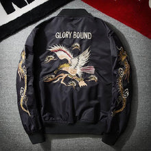 Load image into Gallery viewer, Fashion Lapel Cololar Eagle Embroidery Baseball Coat