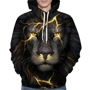 Mens Black Lion Personality Fashion 3D Digital Print Hooded Sweater