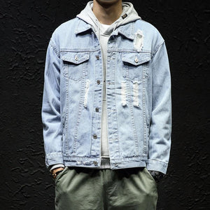 Casual Fashion Lapeled Slim Plain Denim Jacket
