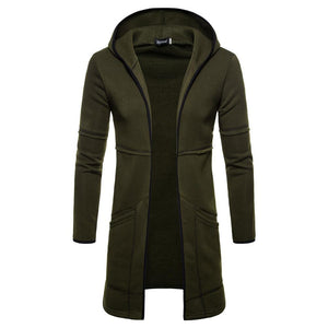 Fashion Casual Long Sleeves Warm Plain Hooded Long Coat