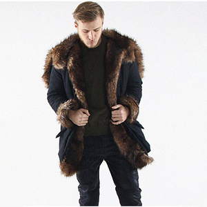 Men's Long Plus Size Faux Fur  Patchwork Coat