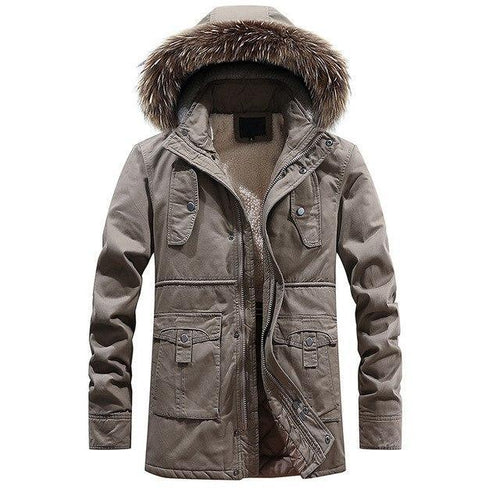 Fashion Brand Men's Fur Collar Parka Casual Thick Warm Overcoat