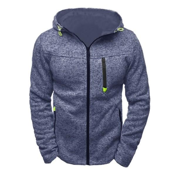 Men's Sports And Leisure Jacquard Sweater Fleece Cardigan Hooded Jacket