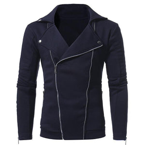 Casual Lapel Collar Plain Double Zipper Slim Coat