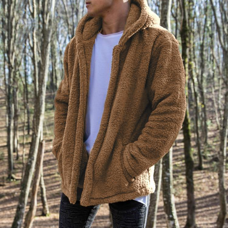 Male Casual Winter Plain Zipper Thicking Coat