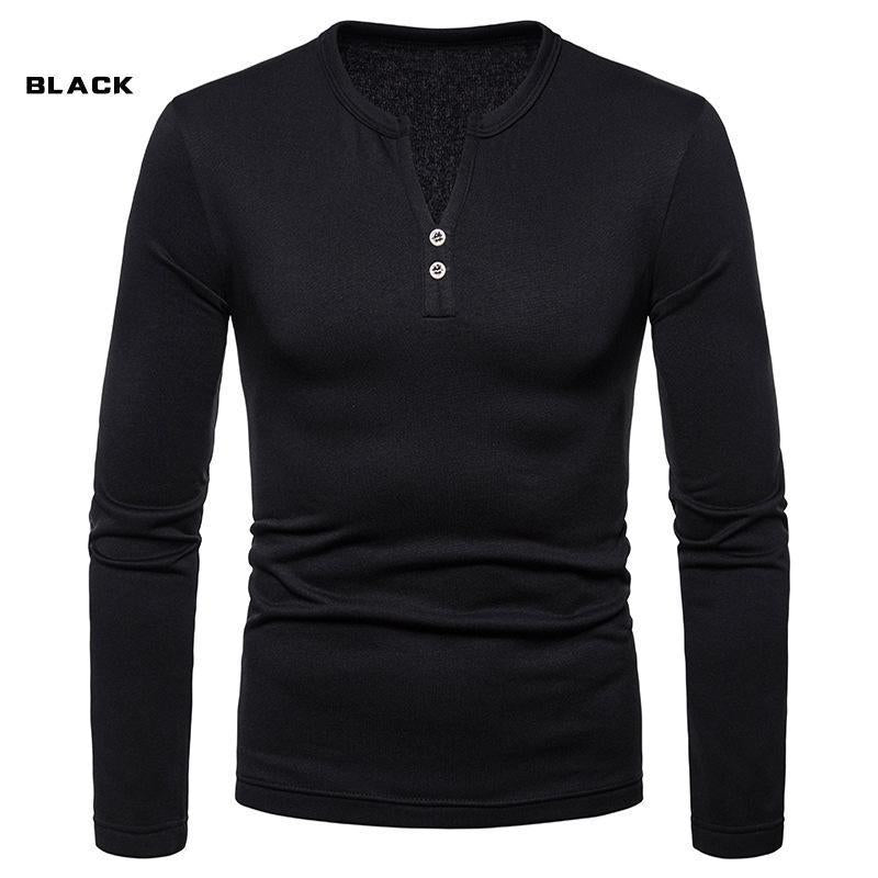Casual Solid Color Plus-Size Warm Long Sleeve T-Shirt