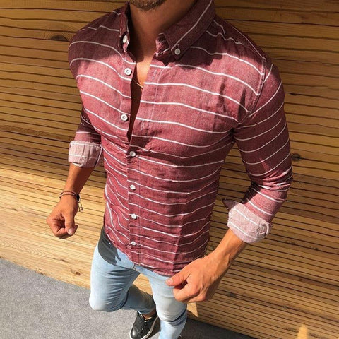 Casual Fashion Lapel Color Block Stripe Long Sleeves Shirt
