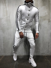 Load image into Gallery viewer, Fashion Mens Color Blocking Plain Zipper Coat Pants Suit