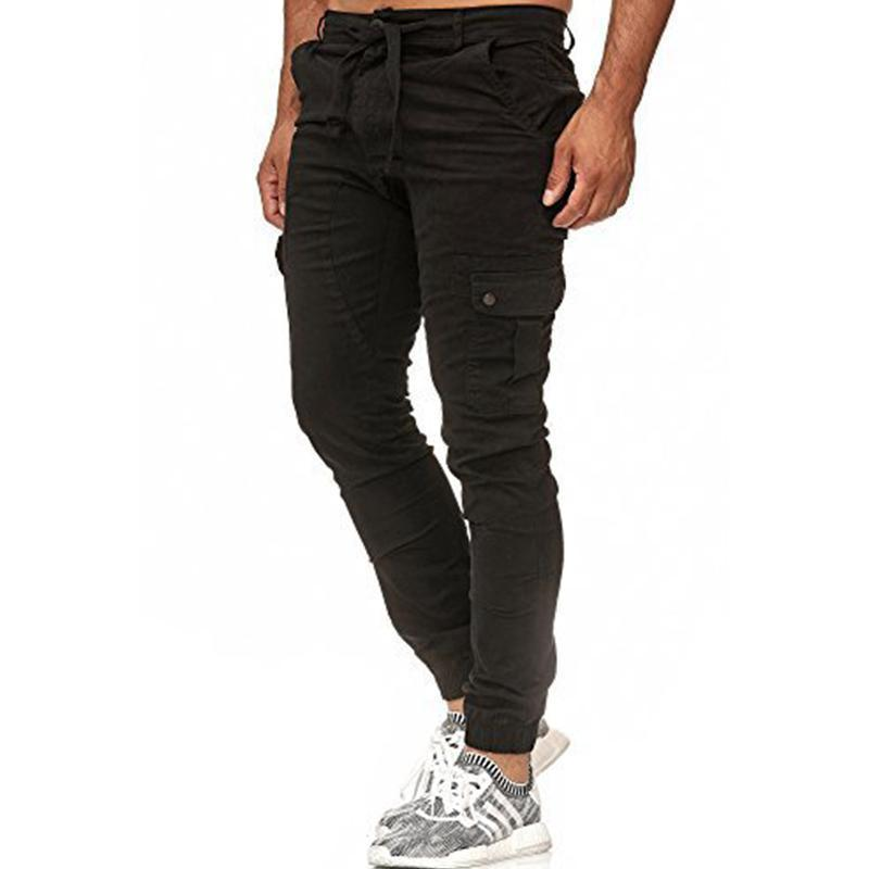 Men's Casual Woven Pocket Stitching Beam Foot Fitness Pants