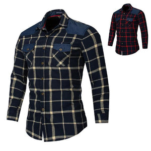 Large Size Cotton Denim Plaid Casual Shirt