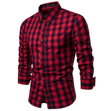 Load image into Gallery viewer, Casual fashion slim lapel long   sleeve plaid buttoned shirt