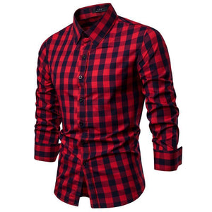 Casual fashion slim lapel long   sleeve plaid buttoned shirt