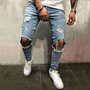 Fashion Stretch Knee Hole Jeans