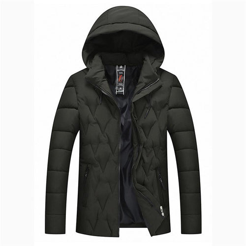 Casual Plain Thicken Warm Hooded Zipper Down Coat