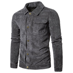 Men's Solid Color Corduroy Basic Jacket