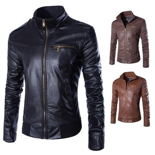 Fashion Slim Standing Collar Motorcycle Leather