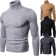 Load image into Gallery viewer, Men's High Collar Solid Color Twist Bottoming Sweater