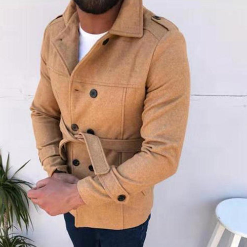 Wool Coat Double-Breasted   Classic Men's Windbreaker