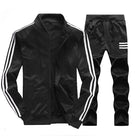 Men's Plus Velvet Solid Color Three Bar Tracksuit