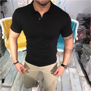 Men's Fashion Casual Solid Lapel T-Shirt